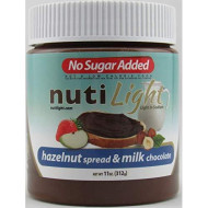 Nutilight - No Sugar Added - Hazelnut Spread & Milk Chocolate - 11 Oz Jar