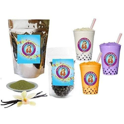 10+ Drinks Vanilla Green Tea Latte Boba Tea Kit: Tea Powder, Tapioca Pearls & Straws By Buddha Bubbles Boba