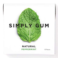 Simply Gum | Chewing Gum | Peppermint | Vegan + Non Gmo | 15 Pieces Per Pack (Pack Of 6)