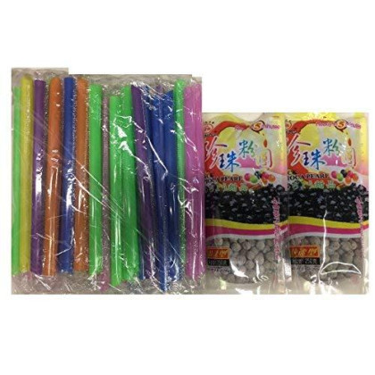 Boba Black Tapioca Pearl Bubble Tea, 2 Pack (Each 8.8 Oz) + 1 Pack Of 50 Boba Straws (Variety Color)