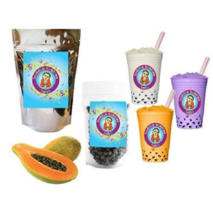 10+ Drinks Papaya Boba Tea Kit: Tea Powder, Tapioca Pearls & Straws By Buddha Bubbles Boba