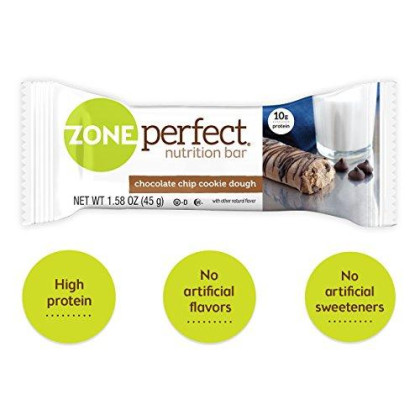 Zoneperfect Protein Bars, Chocolate Chip Cookie Dough, 10G Of Protein, Nutrition Bars With Vitamins & Minerals, Great Taste Guaranteed, 20 Bars