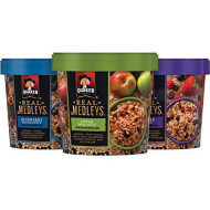 Quaker Real Medleys Oatmeal+, Variety Pack, Instant Oatmeal+ Breakfast Cereal (12 Cups) (Packaging May Vary)