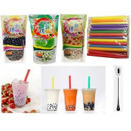 Wufuyuan - Tapioca Pearl (Black) - Net Wt. 8.8 Oz + Multicolor Pear + Green Tea Pearl + 50 Bubble Tea Straws + One Ninechef Spoon Per Order