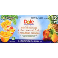 Dole Fruit Bowls, Peaches Mandarin Oranges And Cherry Mixed Fruit, 4 Ounce, 12 Count
