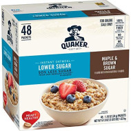 Quaker Instant Oatmeal, Lower Sugar, Maple & Brown Sugar, 48 Count