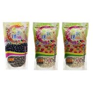 Wufuyuan Tapioca Pearls (1) Black 8.8 oz & (2) Colorful Pearls 8.8 oz (Pack of 3)