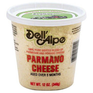 Dell Alpe, Cheese Grated Parmano, 12 Oz, (Pack Of 6)