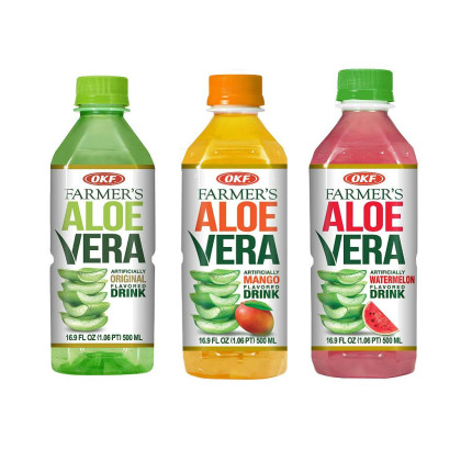 OKF Farmer's Aloe Vera Drink, Original, Mango and Watermelon, 16.9 Fluid Ounce (Pack of 20 each)