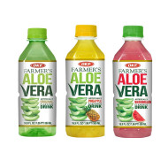 OKF Farmer's Aloe Vera Drink, Original, Pineapple and Watermelon, 16.9 Fluid Ounce (Pack of 20 each)