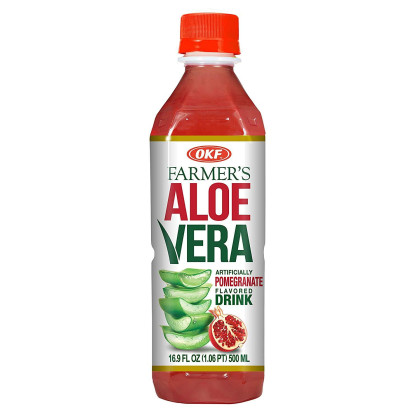 OKF Farmer's Aloe Vera Drink, Original and Pomegranate, 16.9 Fluid Ounce (Pack of 20 each)