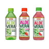 OKF Farmer's Aloe Vera Drink, Original, Strawberry and Watermelon, 16.9 Fluid Ounce (Pack of 20 each)