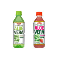 OKF Farmer's Aloe Vera Drink, Original and Strawberry, 16.9 Fluid Ounce (Pack of 20 each)