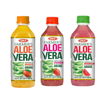 OKF Farmer's Aloe Vera Drink, Mango, Strawberry and Watermelon, 16.9 Fluid Ounce (Pack of 20 each)