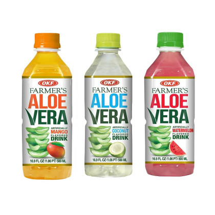 OKF Farmer's Aloe Vera Drink, Mango, Coco and Watermelon, 16.9 Fluid Ounce (Pack of 20 each)