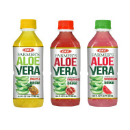 OKF Farmer's Aloe Vera Drink, Pineapple, Pomegranate and Watermelon, 16.9 Fluid Ounce (Pack of 20 each)