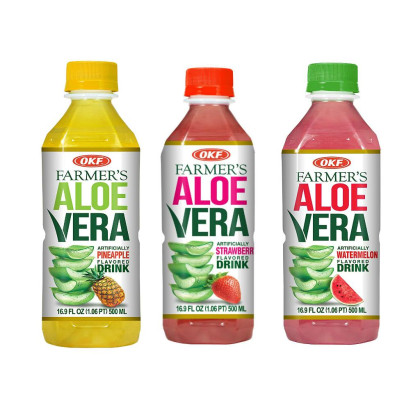 OKF Farmer's Aloe Vera Drink, Pineapple, Strawberry and Watermelon, 16.9 Fluid Ounce (Pack of 20 each)