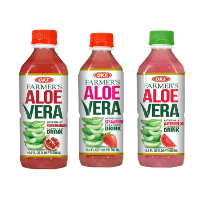OKF Farmer's Aloe Vera Drink, Pomegranate, Strawberry and Watermelon, 16.9 Fluid Ounce (Pack of 20 each)