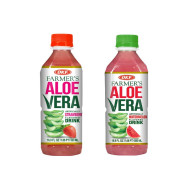 OKF Farmer's Aloe Vera Drink, Strawberry and Watermelon, 16.9 Fluid Ounce (Pack of 20 each)