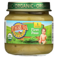 Earth'S Best Organic First Peas Baby Food - Stage 1 - Case Of 12 - 2.5 Oz.