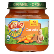 Earth'S Best Organic Carrots Baby Food - Stage 2 - Case Of 12 - 4 Oz.