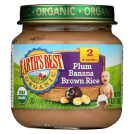 Earth'S Best Organic Plum Banana Brown Rice Baby Food - Stage 2 - Case Of 12 - 4 Oz.