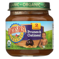 Earth'S Best Organic Prunes And Oatmeal Baby Food - Stage 2 - Case Of 12 - 4 Oz.
