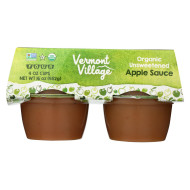 Vermont Village Organic Applesauce - Unsweetened - Case Of 12 - 4 Oz.