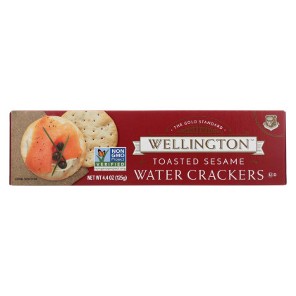 Wellington Toasted Sesame - Water Cracker - Case of 12 - 4.4 oz.