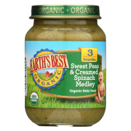 Earth'S Best Organic Sweet Peas And Creamed Spinach Medley Baby Food - Stage 3 - Case Of 12 - 6 Oz.