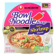 Nong Shim Spicy Shrimp Bowl - Noodle Soup - Case of 12 - 3.03 oz.