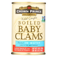 Crown Prince Clams - Boiled Baby Clams In Water - Case of 12 - 10 oz.