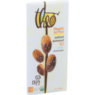 Theo Chocolate Organic Chocolate Bar - Classic - Milk Chocolate - 45 Percent Cacao - Salted Almond - 3 Oz Bars - Case Of 12