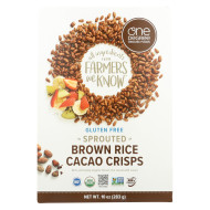 One Degree Organic Foods Sprouted Brown Rice - Cacao Crisps - Case of 6 - 10 oz.