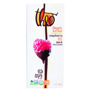 Theo Chocolate Organic Chocolate Bar - Classic - Dark Chocolate - 70 Percent Cacao - Raspberry - 3 Oz Bars - Case Of 12