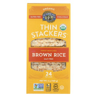 Lundberg Family Farms Organic Thin Stackers Brown Rice - Salt Free - Case Of 12 - 5.9 Oz.