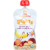Happy Baby Baby Food - Organic - Homestyle Meals - Stage 2 - Bananas Plums Sweet Potato And Oats - 3.5 Oz - Case Of 16