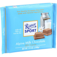 Ritter Sport Chocolate Bar - Milk Chocolate - 30 Percent Cocoa - Alpine - 3.5 Oz Bars - Case Of 12