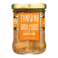 Tonnino Tuna Fillets - Garlic, Olive Oil - Case Of 6 - 6.7 Oz.