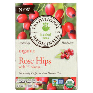 Traditional Medicinals Organic Herbal Tea - Rose Hips With Hibiscus - Case Of 6 - 16 Count