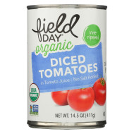 Field Day Organic Tomatoes - Diced - No Salt Added - Case of 12 - 14.5 oz