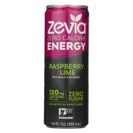 Zevia Zero Calorie Energy Drink - Raspberry/Lime - Case Of 12 - 12 Fl Oz
