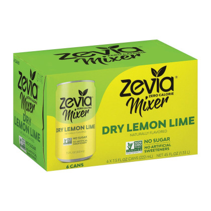 Zevia Zero Calorie Mixer - Dry Lemon Lime - Case of 4 - 6/7.5 fl oz