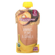 Happy Baby Organic Baby Food - Banana - Plum - Granola - Case of 16 - 4 oz