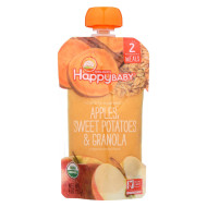 Happy Baby Organic Baby Food - Apple - Sweet Potato - Granola - Case of 16 - 4 oz