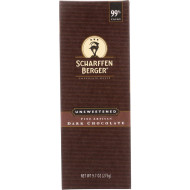 Scharffen Berger Baking Chocolate - 99 Percent Unsweetened - Bar - 9.7 Oz - Case Of 6