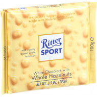 Ritter Sport Chocolate Bar - White Chocolate - Whole Hazelnuts - 3.5 Oz Bars - Case Of 10