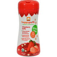 Happy Bites Organic Puffs Finger Food for Babies - Strawberry Puffs - Case of 6 - 2.1 oz