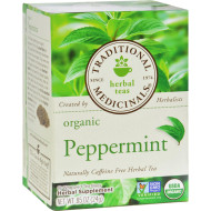 Traditional Medicinals Organic Peppermint Herbal Tea - 16 Tea Bags