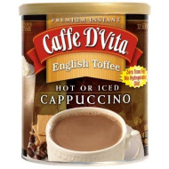 Caffe D'Vita English Toffee Instant Cappuccino Mix / Powder - Pack of 6 - 1 lb. cans (16 oz.)
